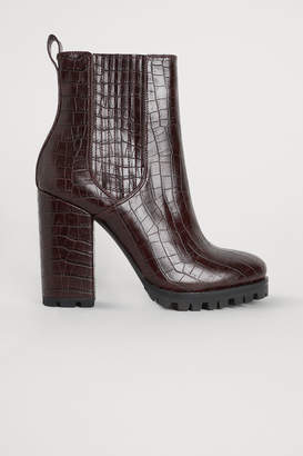 H&M Block-heeled Ankle Boots - Red