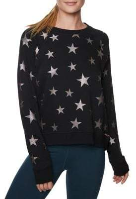 Betsey Johnson Star Glitter Printed Sweatshirt
