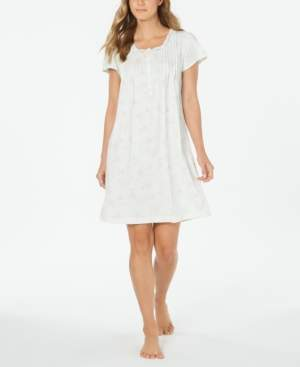 Miss Elaine Plus Size Silky Knit Floral-Print Nightgown