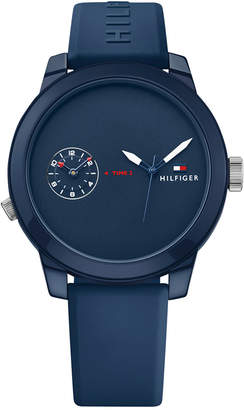 Tommy Hilfiger Men's Cool Sport Navy Silicone Strap Watch 42mm 1791325, Created for Macy's
