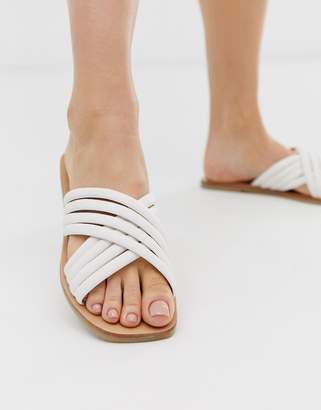 Asos Design DESIGN Falsetto cross strap flat sandals in white