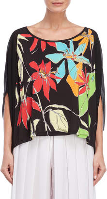 Save The Queen Floral Pattern Kimono Sleeve Tee