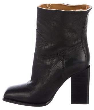 Saint Laurent Leather Square-Toe Boots