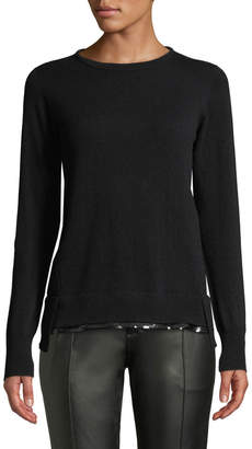 Agnona Crewneck Long-Sleeve Pullover Cashmere Sweater w/ Sequin Hem, Black