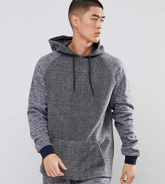 Asos Design Oversized Longline Hoodie In Fleece With Contrast Sleeves