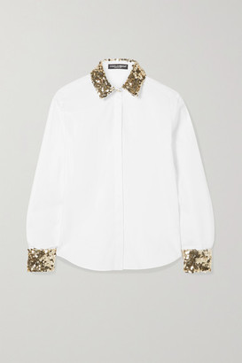 Dolce & Gabbana Sequin-embellished Cotton-blend Poplin Shirt - White