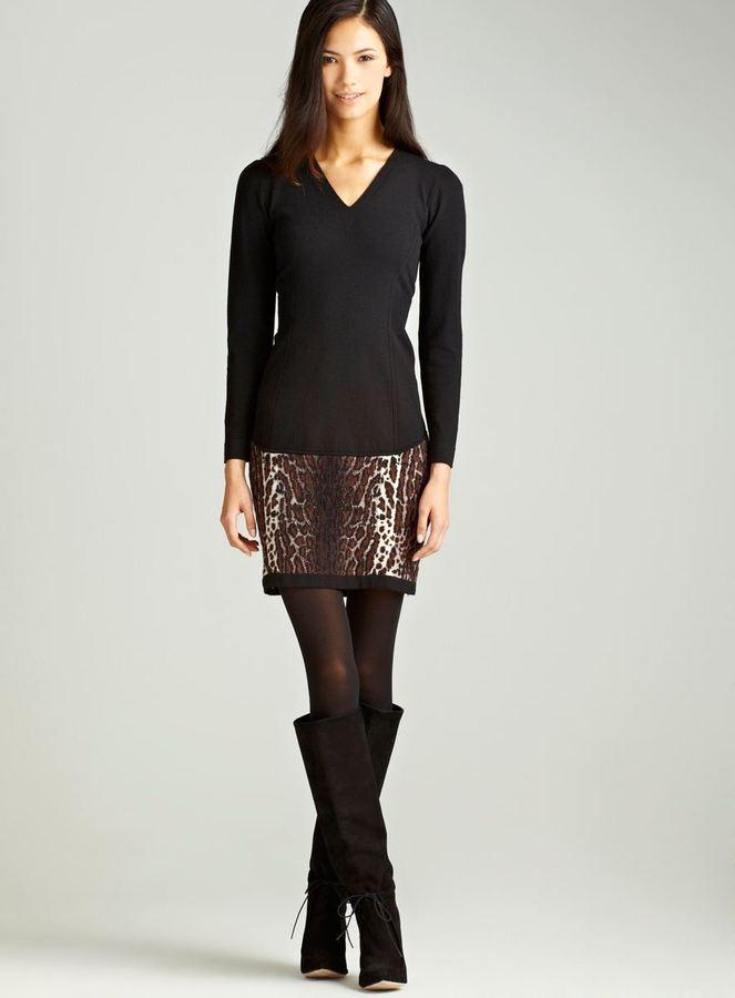 Dexterior Leopard Print Cashmere Dress