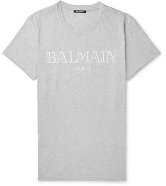 Balmain Slim-Fit Logo-Print Cotton-Jersey T-Shirt - Gray