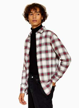 Topman Stone, Navy and Red Slim Check Shirt
