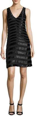 Parker Lucy Sleeveless Beaded Stripe Cocktail Dress, Black $498 thestylecure.com