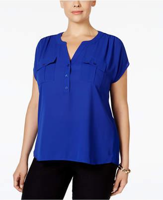 INC International Concepts I.n.c. Plus Size Mixed-Media Utility Shirt