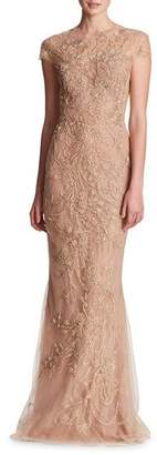 Marchesa Illusion-Neck Beaded Embroidered Top with Layered Tulle Skirt Evening Gown