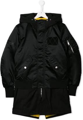 Diesel layered hoodie bomber jacket