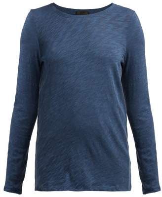 Atm - Long Sleeved Slubbed Cotton Jersey T Shirt - Womens - Dark Blue