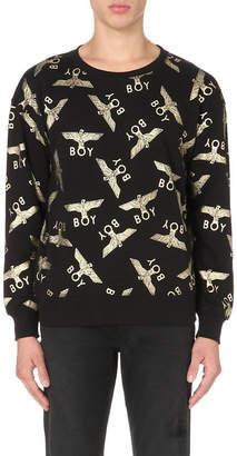 Boy London Metallic eagle repeat cotton sweatshirt