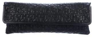 Herve Leger Quilted Leather Fold-Over Clutch