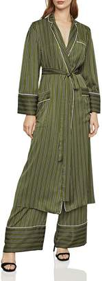 BCBGMAXAZRIA Striped Satin Robe Jacket