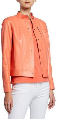 Lafayette 148 New York Galicia Button-Front Glazed Weightless Lambskin Leather Jacket