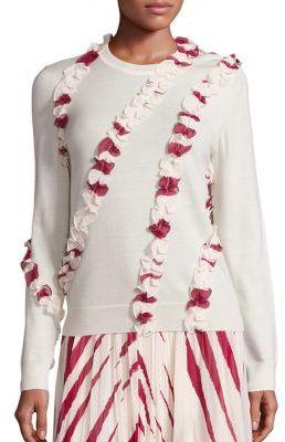 Tory Burch Lucea Merino Wool Ruffle Sweater $350 thestylecure.com