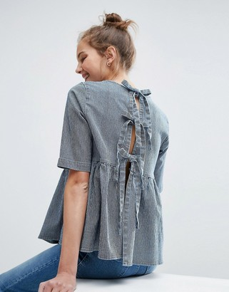 ASOS Denim Tie Back Top in Stripe $48 thestylecure.com