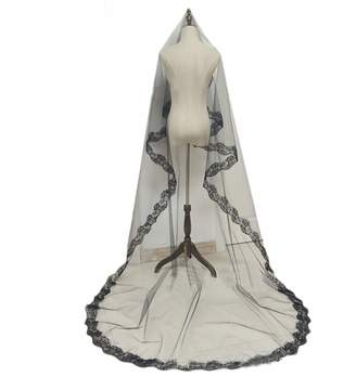 Yamer Black Bridal Veil Long Cathedral Wedding Veil Wedding Accessories for Bride Veil
