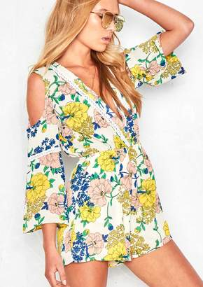 9aab23d6610d Missy Empire Missyempire Camille White Floral V Plunge Playsuit