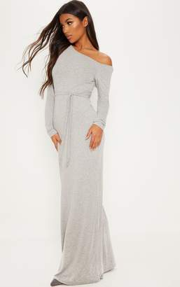 PrettyLittleThing Grey Off The Shoulder Tie Waist Maxi Dress