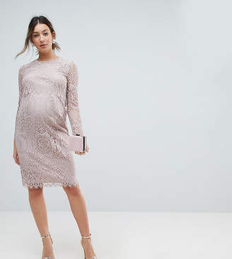 Asos Lace Long Sleeve Midi Pencil Dress