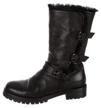 Sartore Fur-Trimmed Leather Boots Black Fur-Trimmed Leather Boots