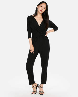 Express Petite Long Sleeve Twist Front Jumpsuit