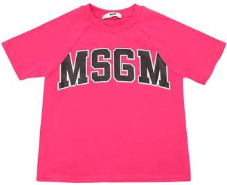 MSGM Logo Printed Cotton Jersey T-Shirt