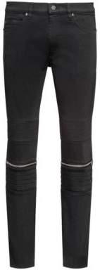 HUGO BOSS Cotton Blend Moto Jean, Skinny Fit HUGO 734 32/32 Black