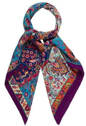 Hermes Au Pays des Oiseaux-Fleurs Cashmere Silk Shawl