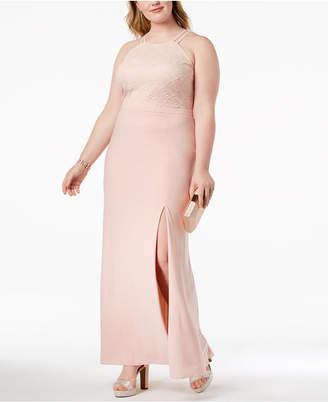 Morgan & Company Plus Size Lace-Bodice Halter Gown