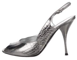 Casadei Embossed Slingback Pumps