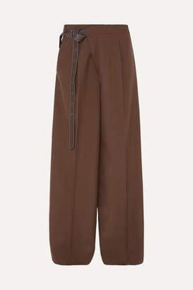 Marni Leather-trimmed Wool Wide-leg Pants - Brown
