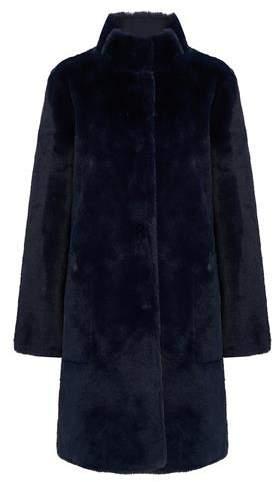 Mina Reversible Faux Fur Coat in Navy