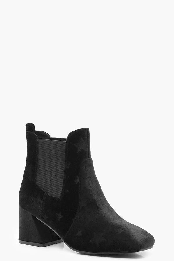 boohoo Star Embossed Velvet Shoe Boots