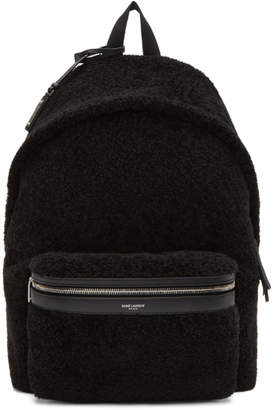 Saint Laurent Black Shearling City Backpack