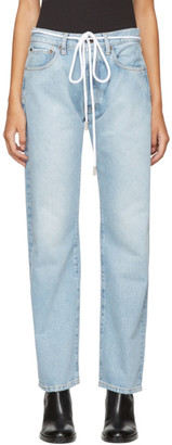 Off-White Blue Diagonal Boyfriend Jeans $545 thestylecure.com