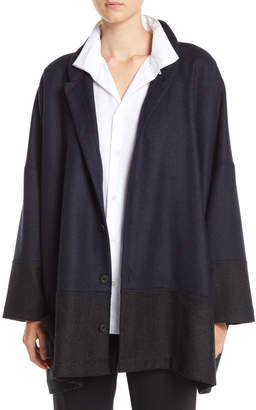eskandar Mandarin-Collar Three-Button Wool-Blend Jacket w/ Pouch Pockets