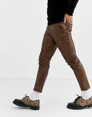 Asos Design DESIGN skinny coated leather look jeans in brown snakeskin