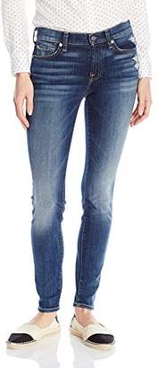 7 For All Mankind Women's The Skinny with Contrast Squiggle and Distress in
