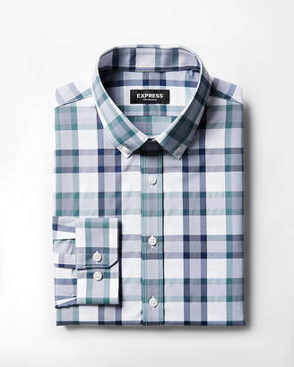 Express Extra Slim Plaid Button-Down Dress Shirt