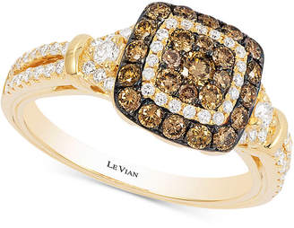 LeVian Le Vian Chocolatier Diamond Square Halo Ring (7/8 ct. t.w.) in 14k Gold