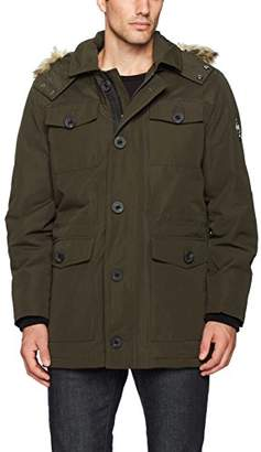 HFX Men's Four Pocket Field Jacket with Removable Faux Fur Hood