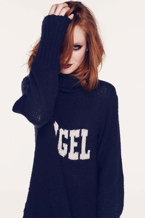Wildfox Couture Angel Turtleneck Seattle Sweater in Uniform Navy