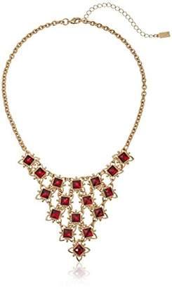 1928 Jewelry Gold-Tone Red Bib Statement Necklace
