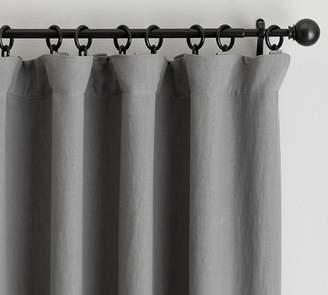 Pottery Barn Classic Belgian Flax Linen Blackout Curtain - Flagstone