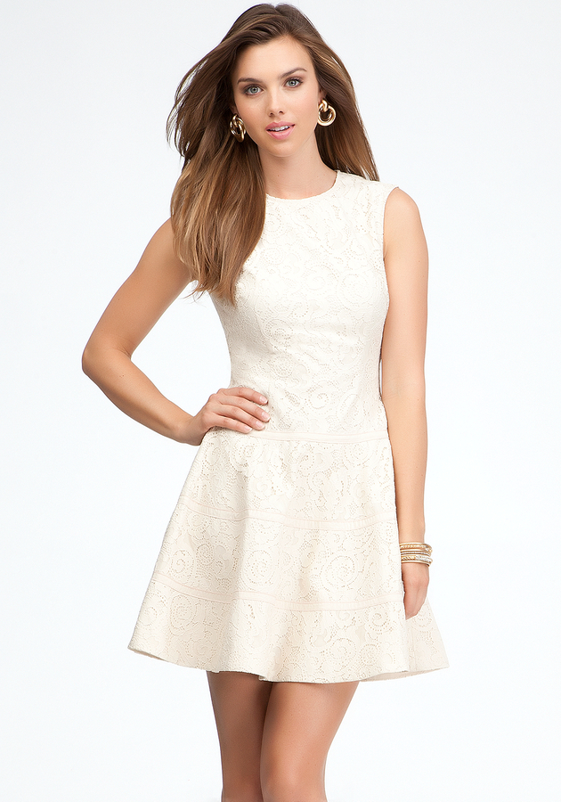 Bebe Sleeveless Lace Fit & Flare Dress